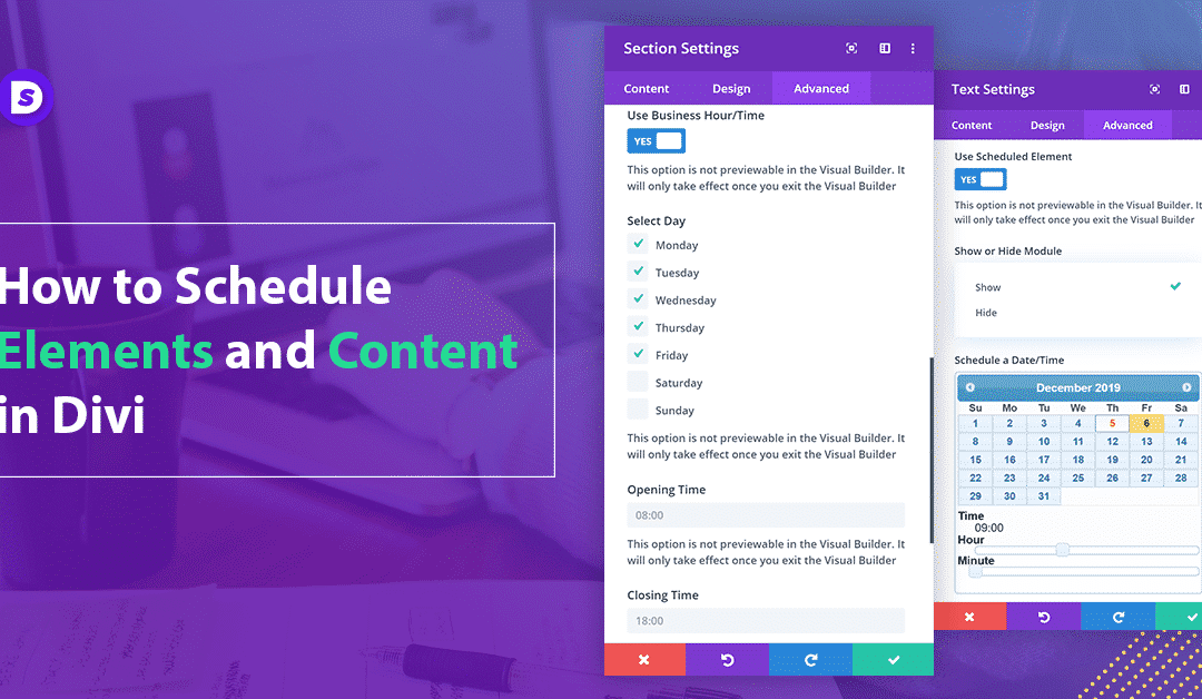 How to Schedule Elements and Content in Divi