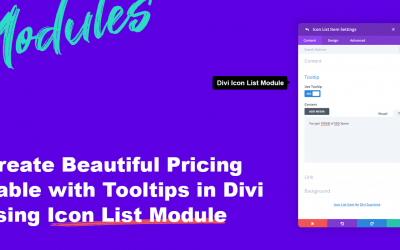 How to create a Beautiful Pricing Table with Tooltips in Divi using Icon List Module