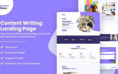 Divi Content Writing Landing Page Layout